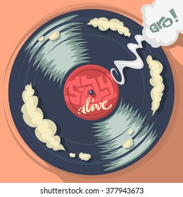 Stay Alive Message On The Vinyl Record Label. Vector Cartoon Comic Cover Illustration.