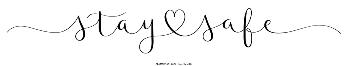 STAY CARE black vector brush calligraphy banner with heart