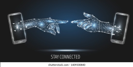 Stay connected vector poster banner design template. Mobile phone two human hands touching, low poly wireframe mesh. 5G network communication technology polygonal art style illustration.