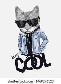 stay cool slogan with cat in sunglasses and denim jacket illustration