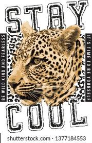 stay cool slogan leopard t shirt design