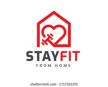 Stay fit from home logo template, Stay home and healthy, Home fitness, work out at home, Coronavirus Covid-19, quarantine motivational phrase. Vector illustration. - Shutterstock ID 1717352191