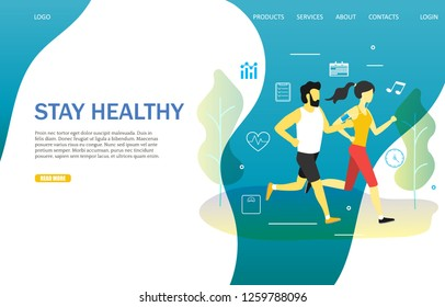 Stay healthy landing page website template. Vector illustration of running man and woman. Fitness couple training outdoors, jogging in the park. Active and healthy lifestyle.