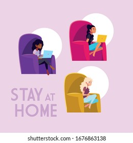 stay at home awareness social media campaign and coronavirus prevention: women connecting with her laptop