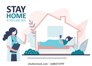 Stay home banner. Female doctor warning about global viral pandemic covid-19. Sick woman stay at home. Quarantine or self-isolation. Sick woman lies in bed. Health care concept. Vector illustration