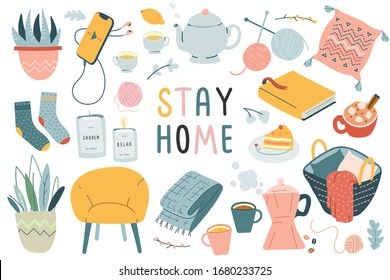 Stay home collection, indoors activities, concept of comfort and coziness, set of isolated vector illustrations, scandinavian hygge style, isolation period at home