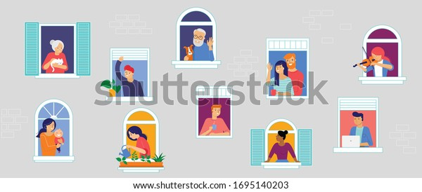 Stay at home, concept design. Different types of people, family, neighbors in their own houses. Self isolation, quarantine during the coronavirus outbreak. Vector flat style illustration stock