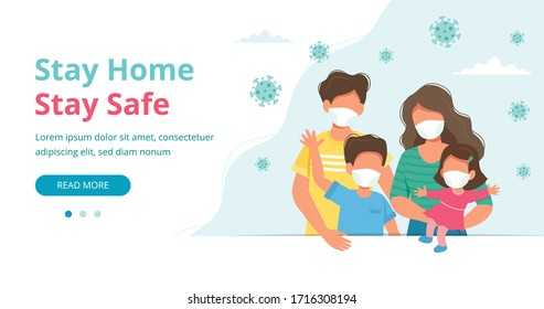 Stay home concept. Family wearing face masks at home in quarantine, landing page or banner template. Coronavirus outbreak concept. Vector illustration in flat style
