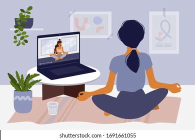 Stay home concept. Girl watching online classes on laptop, practicing yoga, meditation. Live stream, internet education. Woman doing exercise in cozy modern interior. Home activity vector illustration