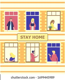 Stay home concept. House facade with windows of apartments. Neighbors are doing daily things. People are drinking tea, talking. Social campaign and support people in self-isolation.