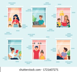 Stay home concept. People looking out windows. Social isolation during epidemic. Cute vector illustration in flat style