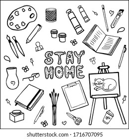 Stay at home. Doodle set of items for creativity, drawing, painting. Vector images for web, print, background, icons.