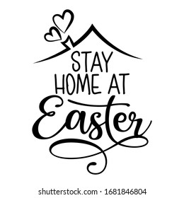 Stay home at Easter - STOP coronavirus, doctor t-shirt. Nursing, doctor, practitioner, nurse practitioner t shirt design template, speech bubble design.