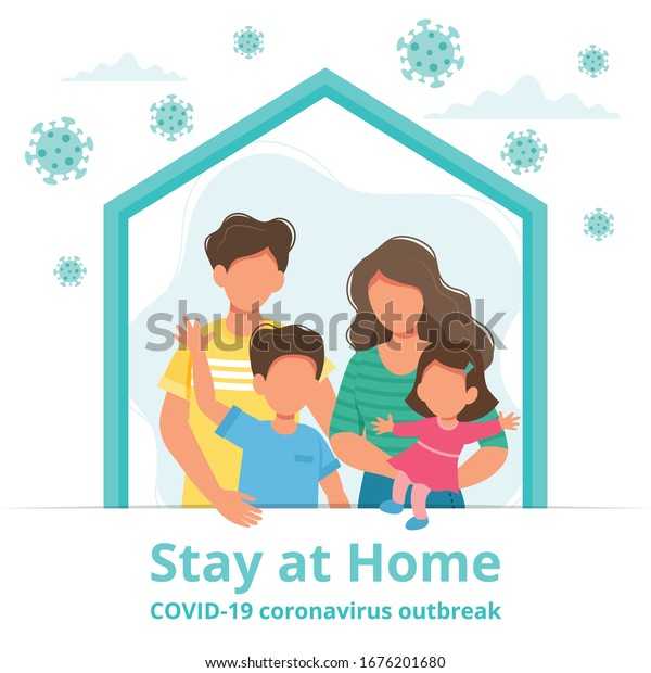 Stay at home. Family staying at home in self quarantine, protection from virus. Coronavirus outbreak concept. Vector illustration in flat style