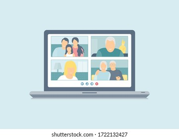 Stay home. Family video call. Family, grandparents, child, grandfather. Coronavirus pandemic online communication, quarantine isolation. Flat vector.
