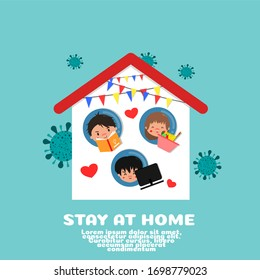 STAY AT HOME FIGHT CORONAVIRUS CARTOON VECTOR CONCEPT. READING BOOK, COOKING AND WORK AT HOME.