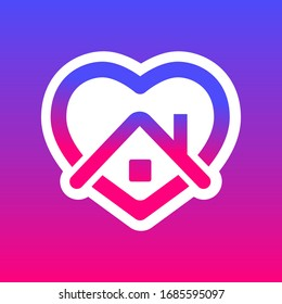 stay home, heart purple and pink color , home sticker symbol vector