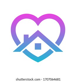 Stay home heart sticker icon for quarantine company coronavirus covid. Vector Illustration. EPS 10