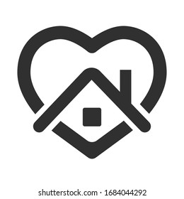 stay home, heart, home sticker symbol vector