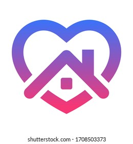 Stay home icon. House with heart .Vector illustration EPS 10