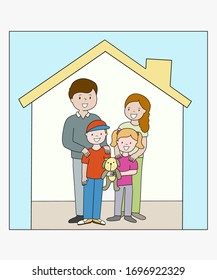 Stay at home image family together - caucasian family quarantine staying together in house Stay safe concept
