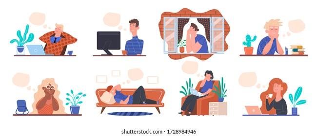 Stay at home keep calm. Concept people think dream in quarantine at home with speech bubbles template man works at computer, looks out window, rests sofa woman at laptop with coffee. Vector clipart.