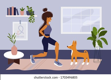 Stay home, keep fit and positive. Cute girl doing squats, exercise, playing with dog Basenji. Fitness workout, sport at home. Healthy lifestyle. Coronavirus quarantine isolation. Vector illustration.