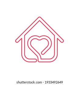 """Stay at Home Logo Icon Vector design illustration. Home with Love icon design concept. Home with heart shape icons shows messages """"stay home"""" or """"stay safe"""" during Corona virus (COVID-19) pandemic"""