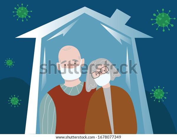Bleib zu Hause! Altes Paar. Großeltern in medizinischen Masken.Corona-Virus. COVID-19. Das Quarantänekonzept.