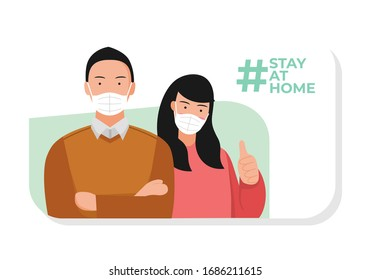 Stay at home orders. self quarantine campaign, corona virus prevention. man and woman use the medical face mask. hashtag on social media post.