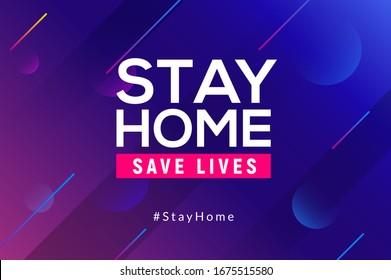 Stay Home quarantine coronavirus epidemic illustration for social media, stay home save lives hashtag.