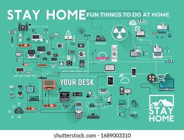 Bleiben Sie zu Hause. Home Quarantine-Vektorillustration-Design