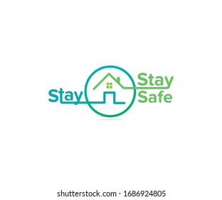 Stay Home Stay Safe. COVID-19. stay home in COVID-19 Coronavirus Outbreak, Work from Home, Protected from Coronavirus. Vector Illustration. Covid-19 Awareness.