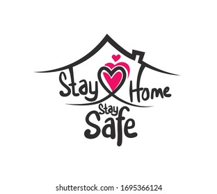 Stay home, stay safe- Lettering typography with heart shapes in the home. Hand letter script motivation poster. The concept of quarantine and stay at home.