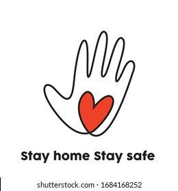 Stay home stay safe, save lives coronavirus awareness logo design, volunteer symbol, helpful hand icon, pandemic, save lives, welcome, goodbye, good luck vector illustration on white background