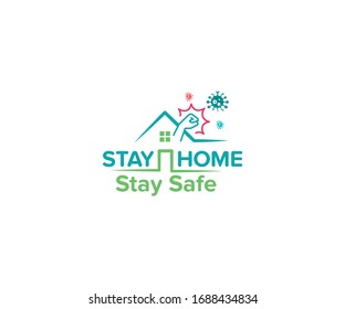 Stay home, stay safe- typography in a blue color home and fighting hand against virus. that means the home is completely protected from Corona virus. The concept of quarantine and stay at home.