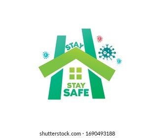 Stay home stay safe- typography in a H shape home icon and  wandering around virus. That means the home is completely protected from Corona virus. The concept of quarantine and stay at home.
