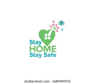 Stay home, stay safe- typography with home icon into the green color heart shape and fighting hand against virus. The concept of quarantine and stay at home.