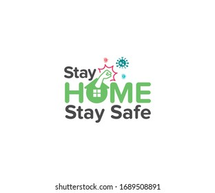 Stay home stay safe- typography with home icon into the O letter fighting hand against virus. The concept of quarantine and stay at home, stay safe. COVID-19 Awareness.