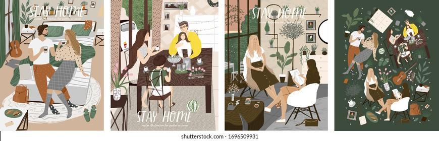 Stay at home! Set posters of Coronavirus quarantine. Couple, family and girlfriends together, eating, drinking, spend time in comfort safety self isolation. Vector illustration banner, card, postcard