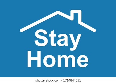 Stay at home text under house roof. Coronavirus protection campaign logo. Virus prevention concept. Self isolation appeal banner - stock vector