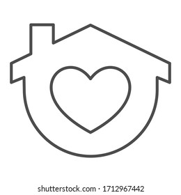 Stay home thin line icon. House with heart shape symbol, outline style pictogram on white background. Home self quarantine sign for mobile concept and web design. Vector graphics