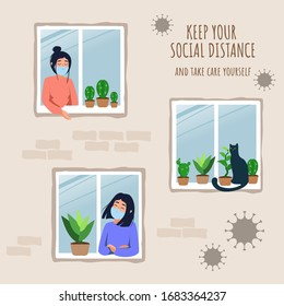 Stay home vector concept. House facade with windows and girls look out of apartment. Self-isolation during an epidemic. Illustration of prevention from virus pneumonia. Stay at home stay safe