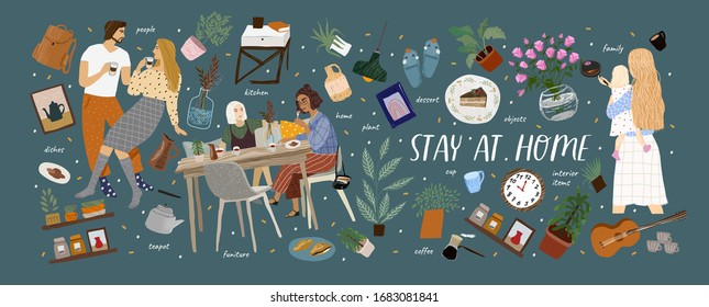 Stay at home! Vector cute illustration of Coronavirus quarantine, self isolation. Cozy interior furniture, family, couple, dishes, plant, isolated home objects set. Drawings for banner, card, postcard