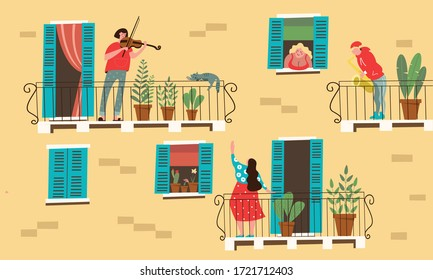 Stay at home. Vector illustration of home activities during the quarantine period.