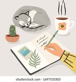 Stay at home. Woman writes a diary at home. Vector illustration. Concept for self-isolation during quarantine and other use.