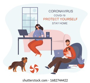 Stay Home Work Home.Protect Yourself.Family keeping Distance for Decrease Infection Risk For Prevent Virus Covid-19.Stay Home on Quarantine During the Coronavirus Epidemic.Vector Illustration