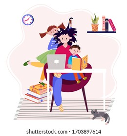 Stay home and working online during quarantine. Tired mother with kids has distant job. Freelancer with laptop in her workplace.  Concept of stressful situation for woman with children and work.