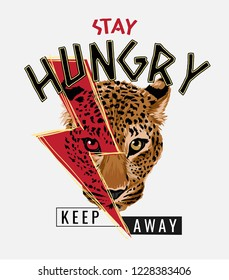 stay hungry slogan with leopard head illustration
