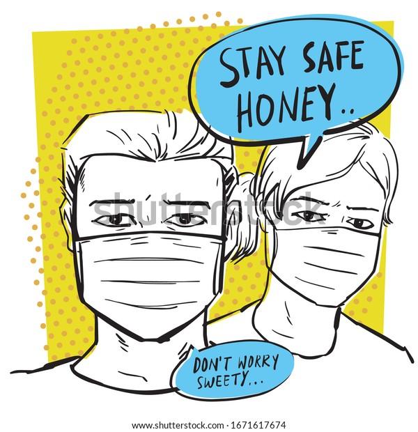 Stay safe honey, from coronavirus. retro comic style vector illustration.